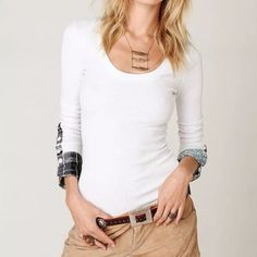 Free People Lou Flannel Cuff Thermal ❣Brand: Free People  ❣Size: XS ❣Color: White  Soft flannel cuff with buttons and a scoop neck. Absolutely no flaws or stains which is uncommon for older white thermals. Discontinued style. Less on Merc w/free shipping Free People Tops Tees - Long Sleeve