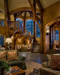 Stairs luxury homes & log cabins interiores de casas, decora Future House, My House, Castle House, Style At Home, Log Cabin Homes, House Goals, Home Fashion, Stairways, Great Rooms