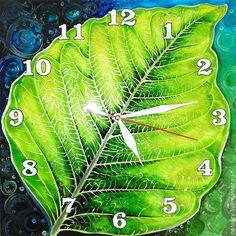 """Купить Часы """"Nature"""" - салатовый, часы с росписью, часы интерьерные, часы настенные из стекла, природа"""