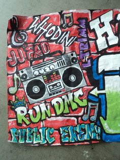 Birthday banner graffiti wall 80's hip hop by TGCreativeDesign