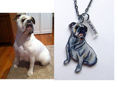 Thinking  of checking on this of Marley! Custom Pet Necklace Hand Drawn Pet Portrait by PeriwinkleNuthatch, $43.00
