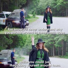 """""""I'll never understand why you parade around in these dead traps while you could just magicking yourself around town"""" - Zelena #OnceUponATime (by onceuponatime_scenes)"""