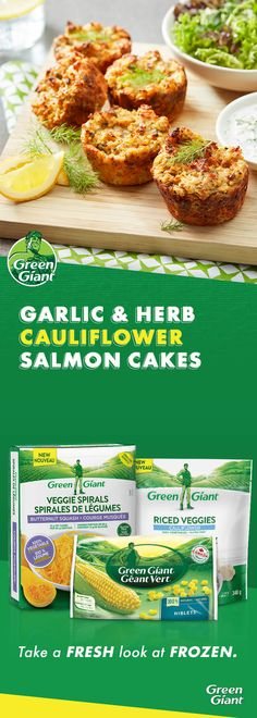 Garlic and Herb Cauliflower Salmon Cakes – Shellfish Recipes Healthy Eating Recipes, Nutritious Meals, Healthy Cooking, Keto Recipes, Healthy Snacks, Vegetarian Recipes, Cooking Recipes, Shellfish Recipes, Seafood Recipes