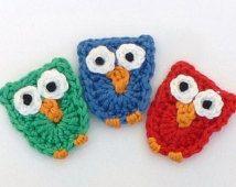 Crochet applique, 3 small crochet owls, cards, scrapbooks, appliques and embellishments