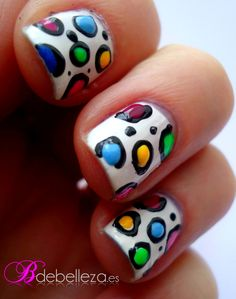 Colorful cow nail art