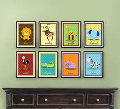 LOVE! Set of 8 Safari Zoo Jungle Animal Prints  5x7 by potatopatch, $32.00