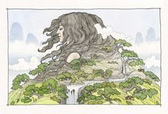 Gaia. Earth Goddess, sacred spirit, intricate drawing, watercolor painting, fantasy, myth, original art print