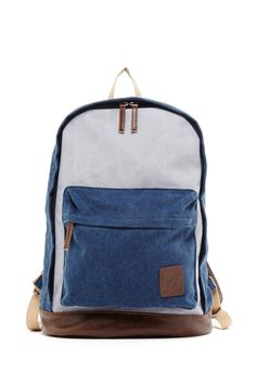 PX | PX Two-Tone Faux Leather Trim Canvas Backpack | Nordstrom Rack