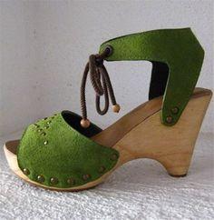 Green Suede Clog Shoe Wedge Sandal by Karen Kell by karenkell, $123.75