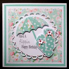 S082 Hand made Birthday Card using MFT Umbrella die and hand cut flip flops