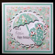 S082 Hand made Birthday Card using MFT Umbrella die and hand cut flip flops