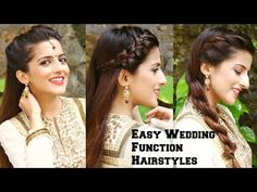 3 EASY Hairstyles For Indian Wedding Occasions For Medium Hair / Indian Party Heatless Hairstyles - YouTube