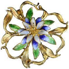 Hard-Fired Enamel Diamond Gold Floral Brooch | From a unique collection of vintage brooches at https://www.1stdibs.com/jewelry/brooches/brooches/