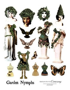 Paper Doll Garden Nymphs Digital Collage Sheet no236 por Cemerony