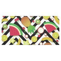 Fruit Watermelon Cherries Chevron Stripes Cotton Linen Tablecloth 60
