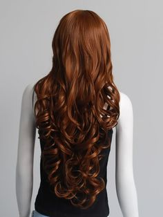 extra long full wigs light brown with red copper | ... Girls Fashion Style Wavy Curly Long Hair Full Wig Dark Brown 62 | eBay