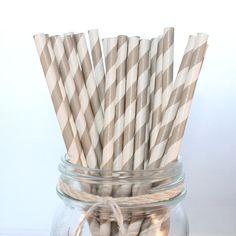Grey Striped Paper Straws - Wedding, Bridal Shower, Baby Shower, Birthday - The Pretty Party Shoppe