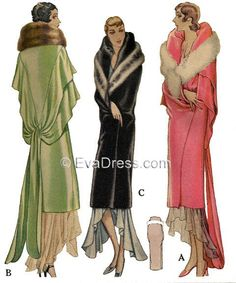 Vintage Furcoat 1929 Evening Wrap - 1929 Evening Wrap pattern originally by McCall for the stunning evening wrap with flounces and tie (A 1930s Fashion, Art Deco Fashion, Retro Fashion, Vintage Fashion, Fashion Top, Edwardian Fashion, Gothic Fashion, Fashion Dresses, Moda Art Deco