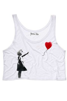 Girl-with-a-Balloon Crop Tank Top | Yotta Kilo