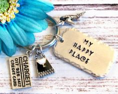 Hand Stamped Shopper Keychain - My Happy Place, Shoe Girl, Gifts for Shoppers