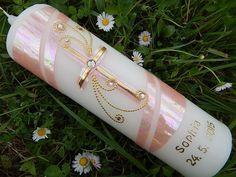 37 Taufkerze Kommunionkerze Junge Mädchen Rosa NEU von Lenz  Kerzen auf DaWanda.com