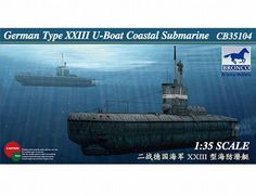 The Bronco German Type XXIII U-Boat Coastal Submarine Model Kit in 1/35 scale from the plastic submarine model kits range accurately recreates the real life German submarine from World War II. This Bronco submarine model requires paint and glue to complete.