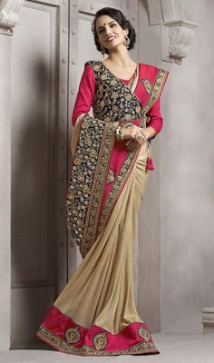 Create a fashion addiction this season by stepping out in this beige and pink color lycra embroidered sari. The enticing lace, stones and resham work in course of saree is awe-inspiring. #partywearsarees #eveningsaree #reshamworksaris