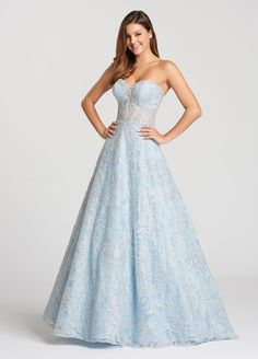 Ellie Wilde - EW118125 Strapless Lace Sweetheart A-Line Long Prom Dress (removable straps, lace bodice, embellished, mid-open back, back zip, natural waist)