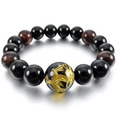 Men,Women's 12mm 14mm Bracelet Link Wrist Agate Black Gold Buddha Mala Beads ** Continue to the product at the image link.