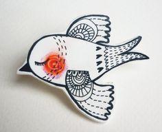 Bird hand drawn pin badge / brooch. $12.00, via Etsy.