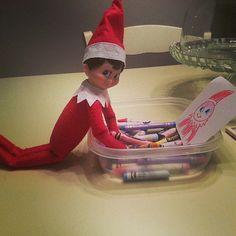 Instagram user emi_sky_love had her elf make a self portrait with crayons.   Source: Instagram user emi_sky_love