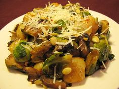 Gnocchi with Brussels Sprouts and Mushrooms #MeatlessMonday