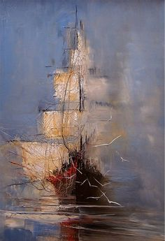 Tall ship art by Artist Justyna Kopania Ship Paintings, Photo D Art, Ship Art, Palette Knife, Painting Inspiration, Amazing Art, Art Photography, Abstract Art, Art Gallery