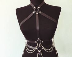 Leather Body Cage | Harness with Chain | Chest Harness | Body Harness | Leather Top | Leather Belt | Leather Accessories | Chain Harness