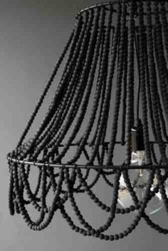 DIY black beaded chandelier with lamp frame. Can also use hanging plant basket from the dollar store, as a frame & add a hanging pendant light inside. It doesn't have to be black, just the idea is super cute, to make your own chandelier. Black Chandelier, Beaded Chandelier, Chandeliers, Chandelier Lighting, Luminaria Diy, Muebles Shabby Chic, Deco Luminaire, Lit Wallpaper, Decoration Inspiration