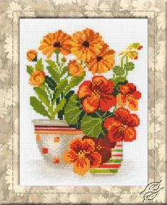 Nasturtiums And Marigolds - Cross Stitch Kits by RIOLIS - 1116
