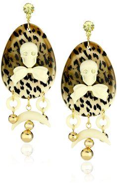 """* Tarina Tarantino """"Cocobanana"""" Skull and Leopard Earrings *"""