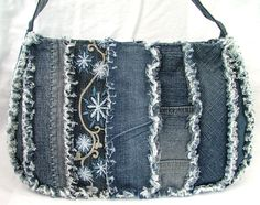 DENIM PATCHWORK SHOULDER PURSE / BAG от poppypatchwork на Etsy