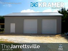 The Jarrettsville - 30 x 40 x 12 View, configure and price this building at http://www.MyPoleBuilding.com/