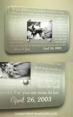 Traditional 10 year Anniversary Gift Idea: First Dance or Wedding Vow Fully Engraved Metal Picture Frame.  Etta James' At Last shown  http://www.suspended-moments.com/engraved-first-dance-wedding-frame/