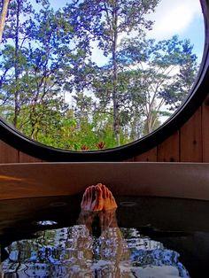 Hawaiian escape in a Great Northern Rubadub Hot Tub Western Red Cedar, Hot Tubs, Hawaiian, Outdoor Decor, Beautiful, Spa Baths, Whirlpool Bathtub