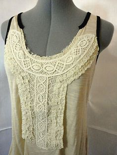 NWT scoop neck CROCHET LACE tank top womens S,M,L, PEACH rayon SUMMER blouse