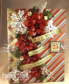 Sparkling Red Poinsettias Flip Fold Album from #HeartfeltCreations