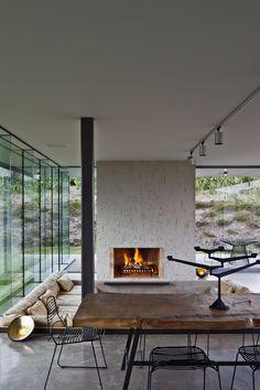 sunken living  room + fireplace // #midcentury
