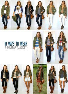 10 ways to wear a military jacket. Try #CAbi Spring '14 Anorak Jacket. www.kimberleyjohnson.cabionline.com