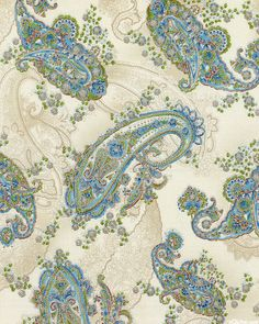 La Scala 7 - Florentine Paisley - Ivory/Silver. Fabric from eQuilter.com