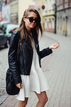 leather biker jacket + white dress