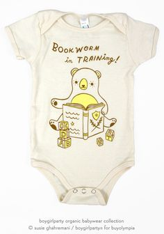 Bookworm Onesie - Baby Bodysuit (Organic) by Susie Ghahremani / boygirlparty.com – the boygirlparty shop – shop.boygirlparty.com