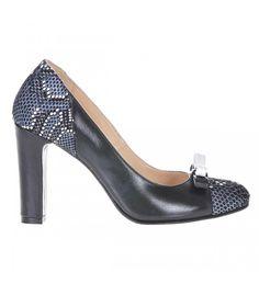 Pantofi Office Piele Naturala Neagra - Imprimeu - Cod S186 Pumps, Shoes, Fashion, Moda, Zapatos, Shoes Outlet, Fashion Styles, Pumps Heels, Pump Shoes