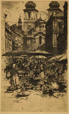 Jan Vondrous / Vegetable market, Prague / etching / market / city / cityscape / Prague / Czech Republic / intaglio / printmaking / drawing / art / decor / Czech artist